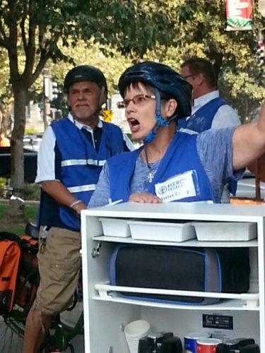 An image of Sister Libby with some Mercy Pedalers