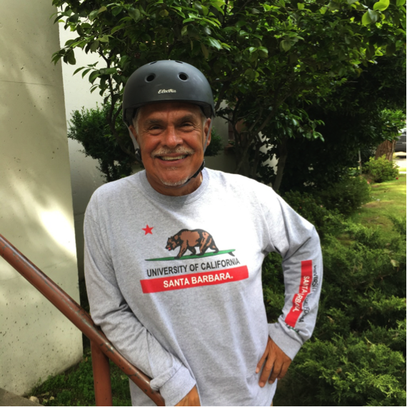 An image of a smiling older man Mercy pedaler volunteer