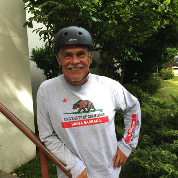 An image of a smiling older man Mercy pedaler volunteer